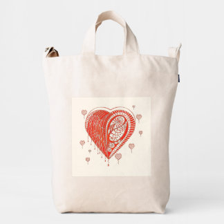 Red Thorn Heart Duck Tote Back Duck Bag