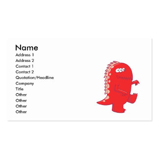 red three eyed dino monster business cards