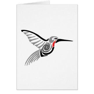 red throat-ed gray hummingbird card