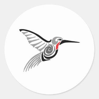 red throat-ed gray hummingbird classic round sticker