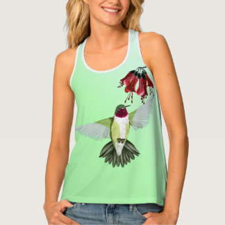Red Throated Hummingbird and Flowers Tank Top