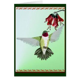 Red Throated Hummingbird Card