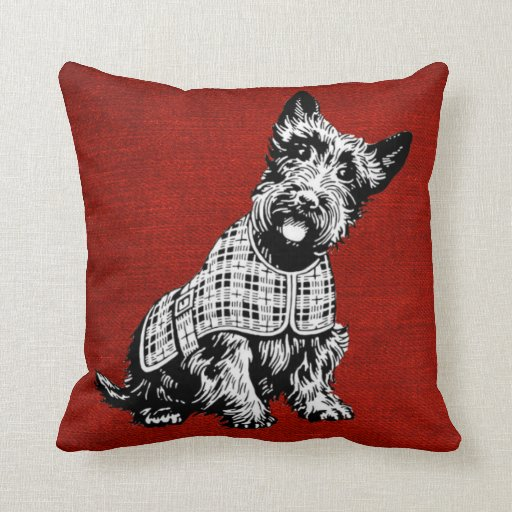 Red Dog Throw Pillows : Red Throw Pillow With Scottish Terrier Dog Zazzle