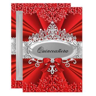 Red Tiara & Damask Quinceanera Invite