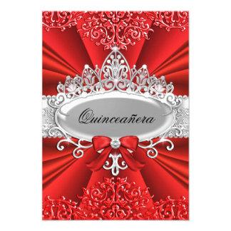 Red Tiara Damask Quinceanera Invite Personalized Invitations