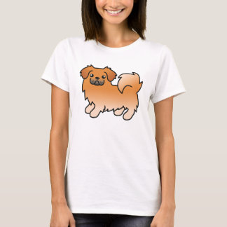Red Tibetan Spaniel Cartoon Dog T-Shirt