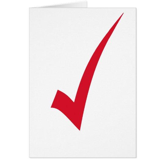 Red Tick Check Symbol Sign Mark Greeting Card Zazzlecom