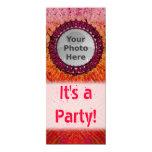 """Red Tiedye Photo Invitations 4"""" X 9.25"""" Invitation Card"""