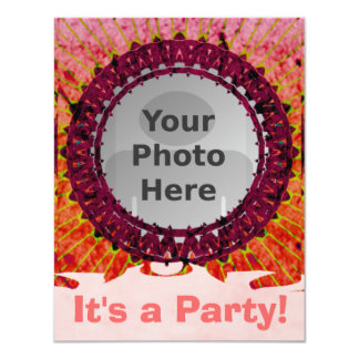 Red Tiedye Photo Invitations