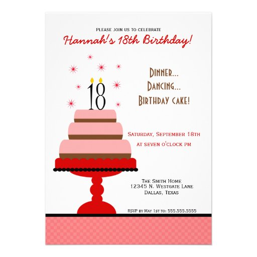 Red Tiered Cake 18th Birthday Party Invitation