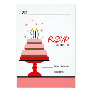 Red Tiered Cake 90th Birthday Party RSVP Card