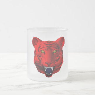 Red Tiger 10 Oz Frosted Glass Coffee Mug