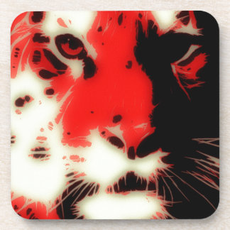 Red Tiger Face Drink Coaster