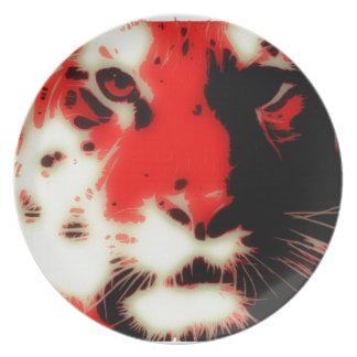 Red Tiger Face Melamine Plate