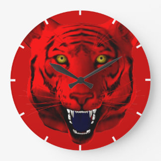 Red Tiger Large Clock