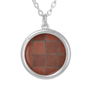 Red Tile Silver Plated Necklace