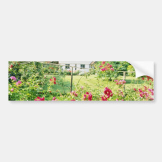 Red Timber-Framed House With Climbing Rose In Fore Bumper Stickers