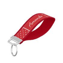 Red Tiny Dots Monogram Wrist Keychain