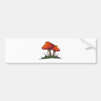 Red Toadstools, Mushrooms: Freehand Marker Art Bumper Sticker