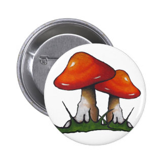 Red Toadstools, Mushrooms: Freehand Marker Art Pinback Button