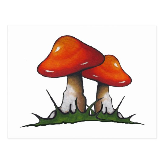 Red Toadstools, Mushrooms: Freehand Marker Art Postcard