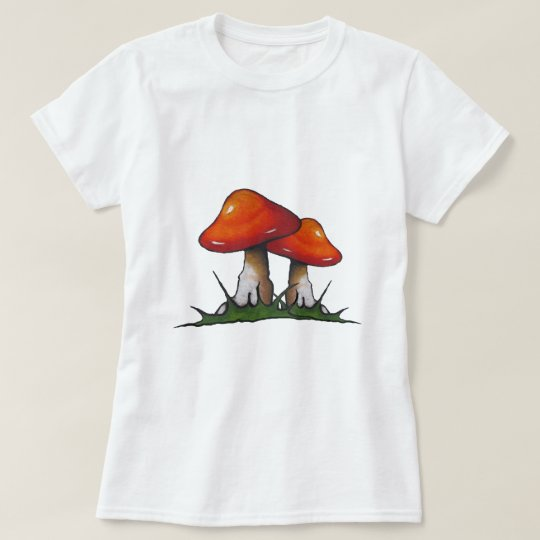 Red Toadstools, Mushrooms: Freehand Marker Art T-Shirt