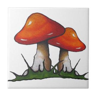 Red Toadstools, Mushrooms: Freehand Marker Art Tile