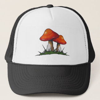 Red Toadstools, Mushrooms: Freehand Marker Art Trucker Hat