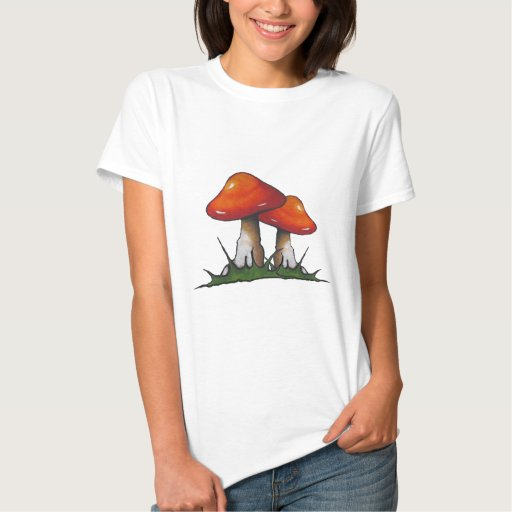 Red Toadstools, Mushrooms: Freehand Marker Art Tee Shirts