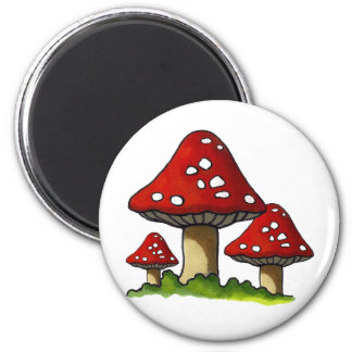 Red Toadtstools, Mushroom: Freehand Art 2 Inch Round Magnet