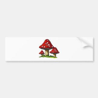 Red Toadtstools, Mushroom: Freehand Art Bumper Sticker