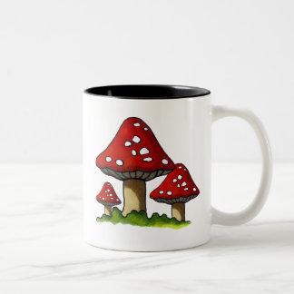 Red Toadtstools, Mushroom: Freehand Art Mugs
