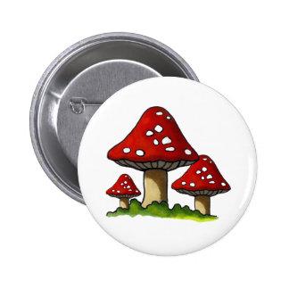 Red Toadtstools, Mushroom: Freehand Art Pinback Button