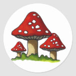 Red Toadtstools, Mushroom: Freehand Art Classic Round Sticker