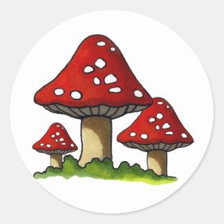 Red Toadtstools Mushroom Freehand Art Round Sticker