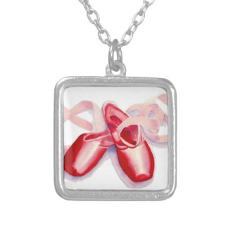 Red Toe Shoes Silver Plated Necklace