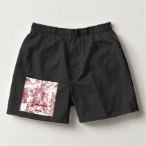 Red Toile Pattern Design Boxers