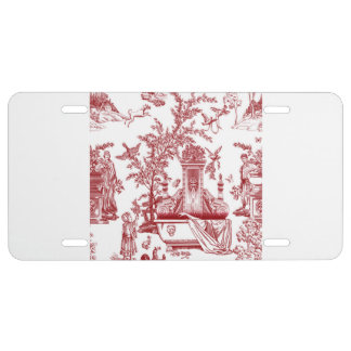 Red Toile Pattern Design License Plate