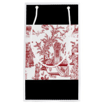 Red Toile Pattern Design Small Gift Bag