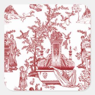 Red Toile Pattern Design Square Sticker
