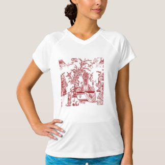 Red Toile Pattern Design T-Shirt
