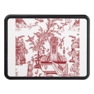 Red Toile Pattern Design Trailer Hitch Covers