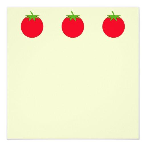 Red Tomato. 5.25x5.25 Square Paper Invitation Card