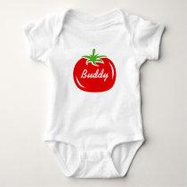 Red tomato custom bodysuit for baby boy or girl