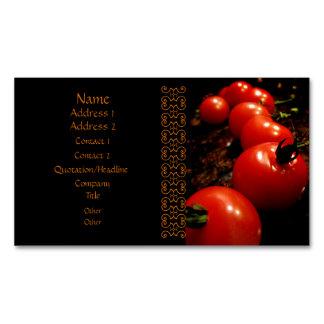 Red Tomato Elegant Black Brown Business Card Magnet