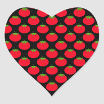 Red Tomato Pattern. Heart Sticker