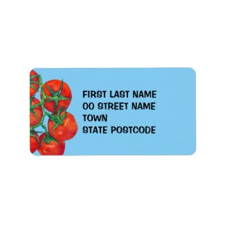 Red Tomatoes blue Address Label label