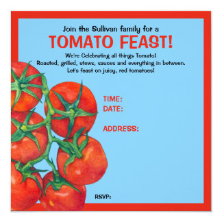 Red Tomatoes blue Feast Invitation Card