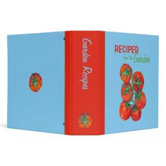 Red Tomatoes blue Recipe Binder binder
