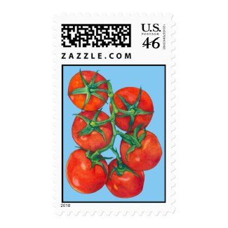 Red Tomatoes blue Stamp stamp